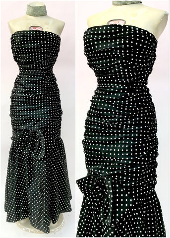 80s polka dot prom dress, hourglass figure hugging wiggle dress with mermaid tail frill and huge bow, coffin ruched  for added hollywood glam
