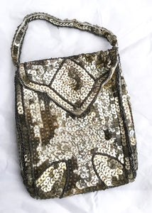 1920s Vintage Deco Silver Sequin Flapper Purse