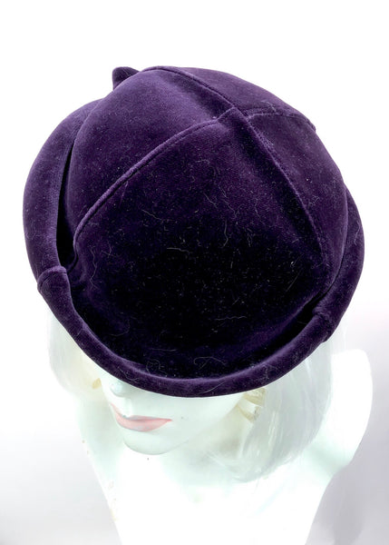 1970s Vintage Violet Velvet Pillbox Perch Hat 💜 Deadstock Eastex