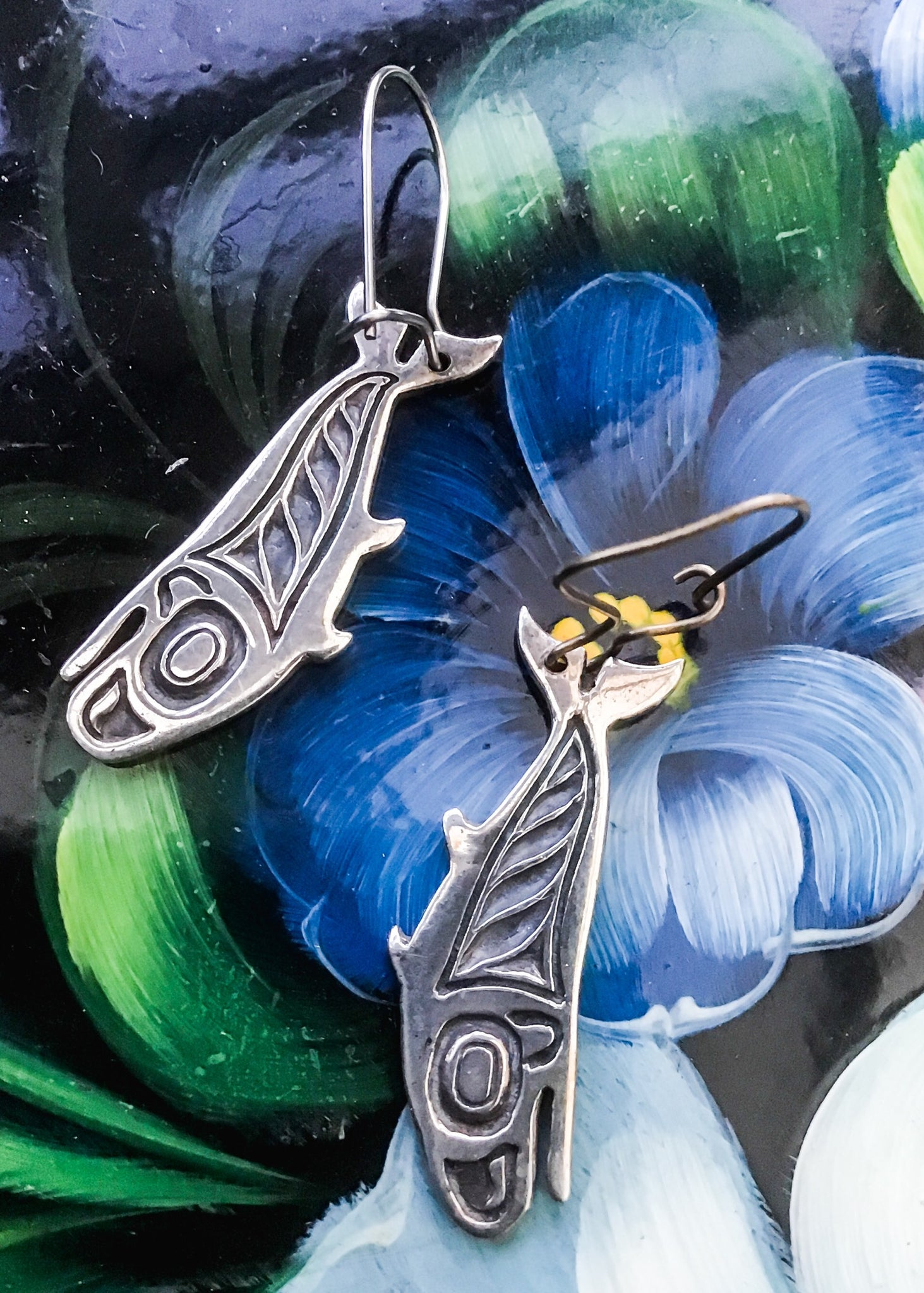 North west coast native american art, silver whale earrings