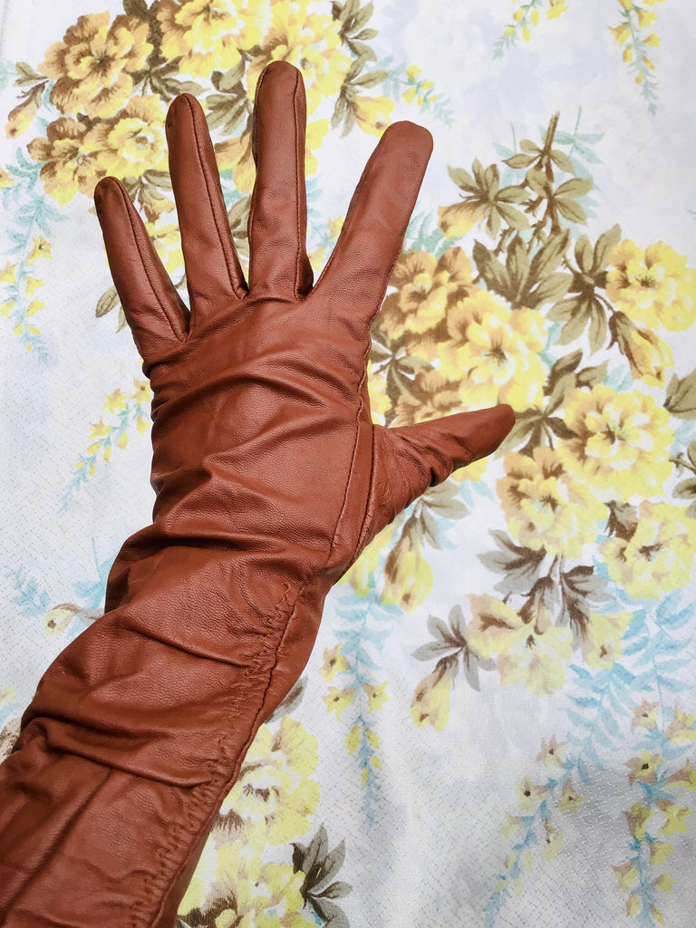 Large Orange Tan Leather Gauntlet Gloves Long Arm Cuff