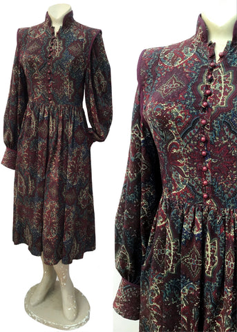 Vintage long sleeve, burgundy liberty print wool boho dress by origin