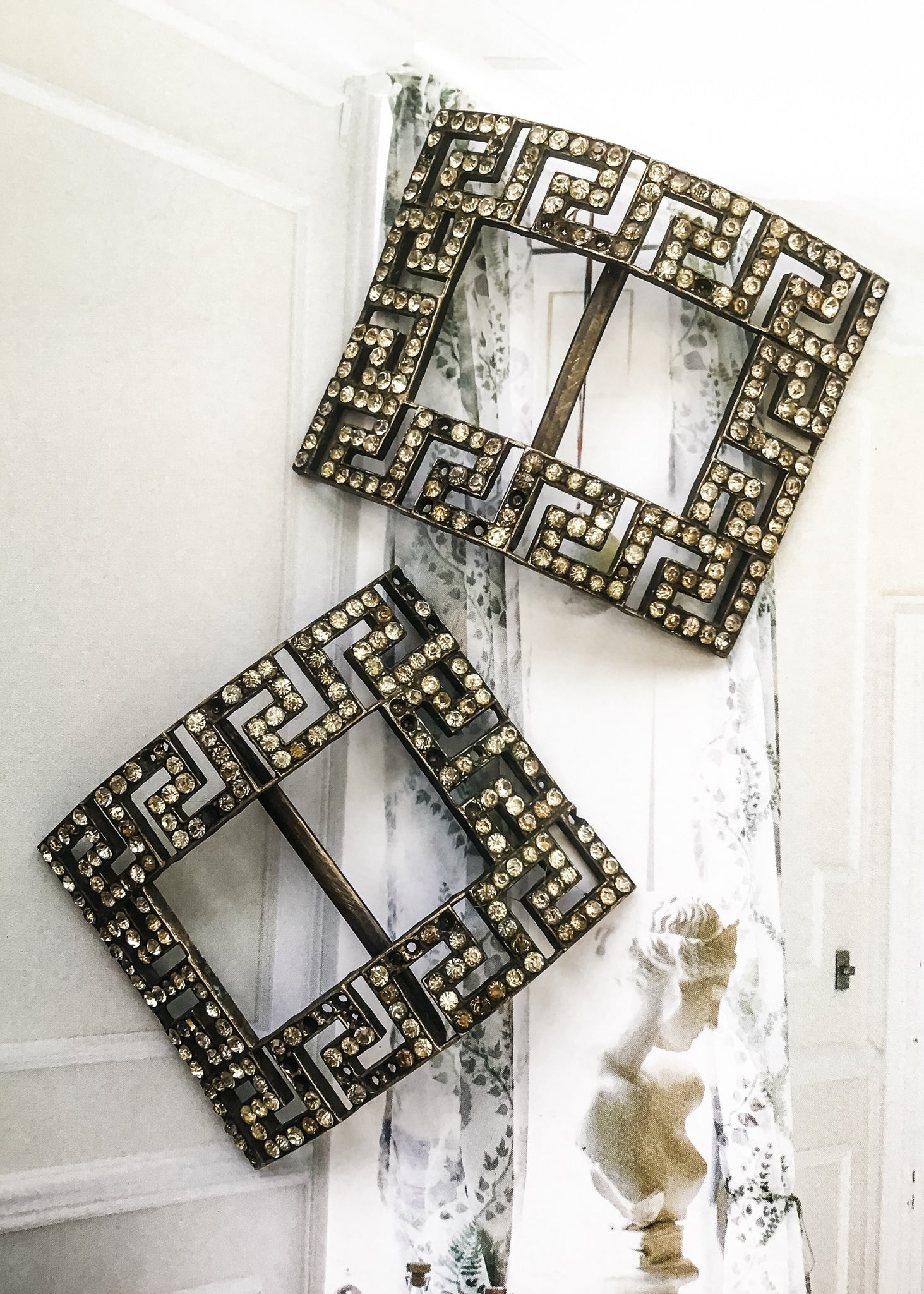 Antique diamonte shoe buckles from the early 1900s