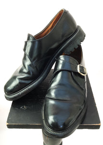 Vintage black leather monk shoes size 8.
