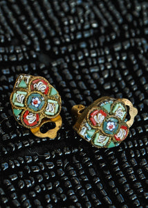 Antique Florentine Micro Mosaic Clip On Earrings
