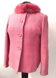 1960s Vintage Pink Box Jacket with Faux Fur Collar