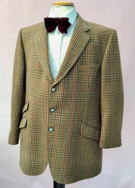 46R chest saxony weave green plaid keepers tweed hacking jacket for sale