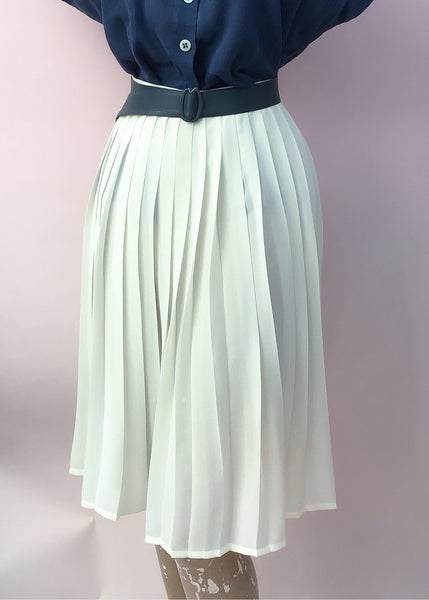 1970s Vintage Sheer Cream Pleated Sunray Skirt by M&S