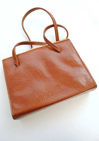 1950s Vintage Tan Brown Kelly Bag, Top Handle Handbag