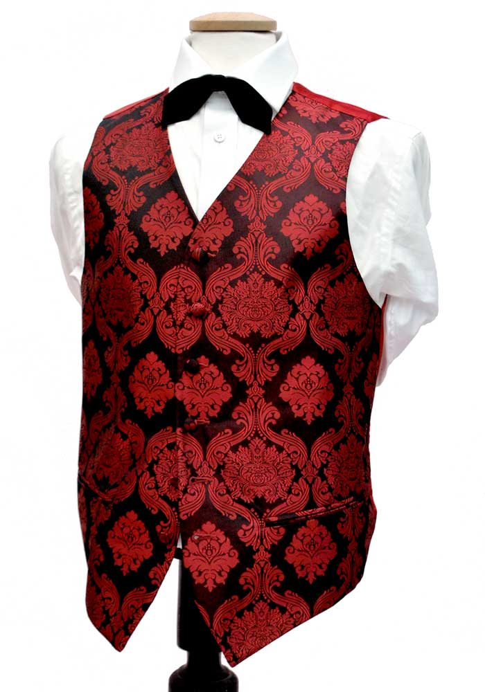 Decorative Red and Black Alexander Dobel Waistcoat