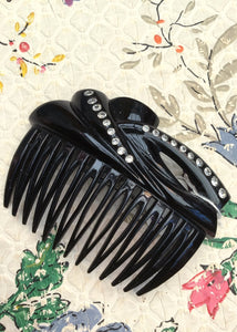 Vintage black plastic hair comb with rhinestones