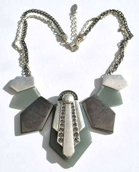 Retro Deco Inspired Hultquist Grey Resin Necklace With Diamonte Crystals