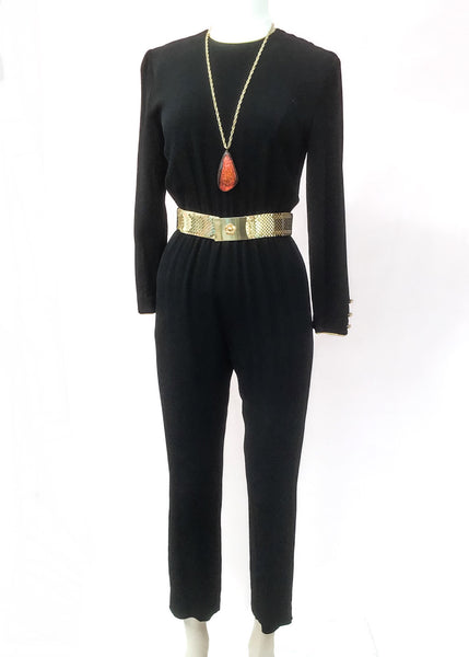 1970s Vintage Studio 54 • Black Crepe Jump Suit • UK size 8 • Disco