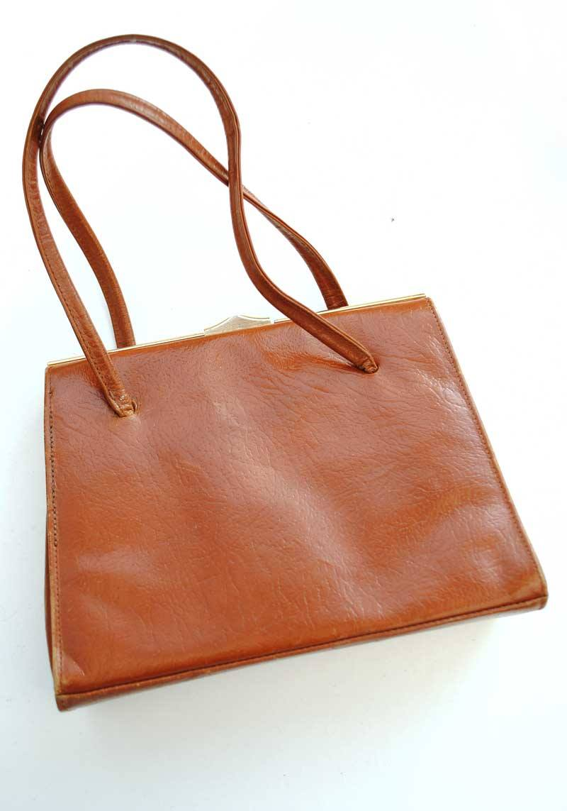 Buy Tan brown top handle textured kelly bag