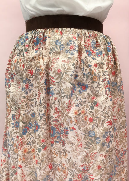 1970s Vintage Liberty Print Chintz Floral Cotton Summer Skirt
