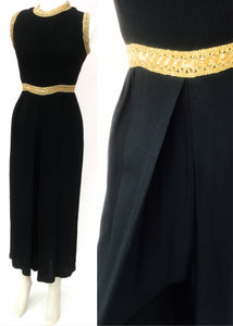 1960s Vintage Black & Gold Sleeveless Crepe Culottes Jump Suit • UK size 10 • Disco