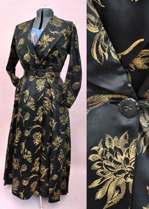 1940s Vintage Black Satin & Gold Evening Coat Dress • Dressing Robe