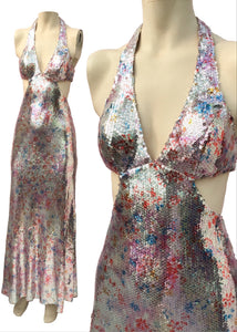 Fantastic Shimmery Silver Multicoloured Sequin Mermaid Gown • XS