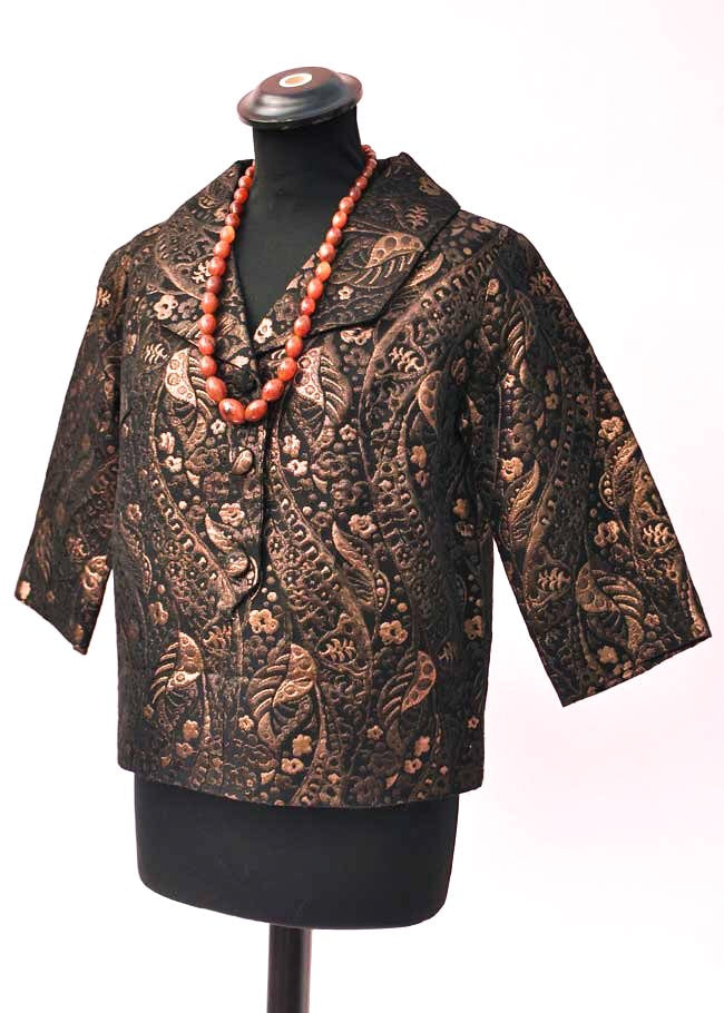 60s bronze and black textured brocade cocktail evening top