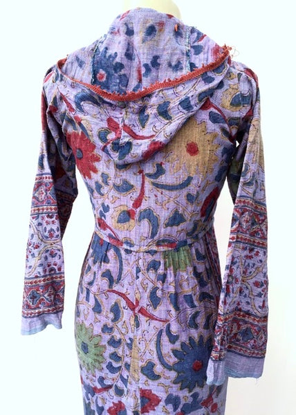 indian loose weave cotton, block printed floral pattern dress with hood, djellaba
