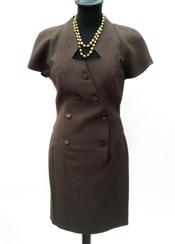 1989s brown mohair avant garde wiggle dress by French fashion designer  karl lagerfeld