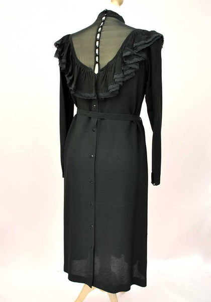 1970s Vintage Black Chiffon Pleated Cocktail Dress • Illusion Bodice