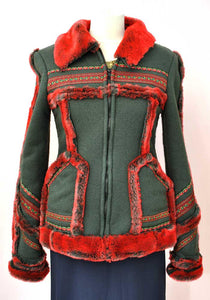 1990s Vintage Anna Sui Red Faux Fur Bohemian Fleecy Jacket