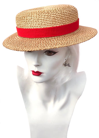 1920s Original Vintage Ridgemont Straw Boater Hat