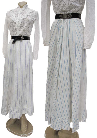 antique white and blue striped edwardian lawn skirt