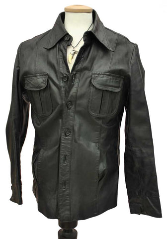 vintage black leather shirt