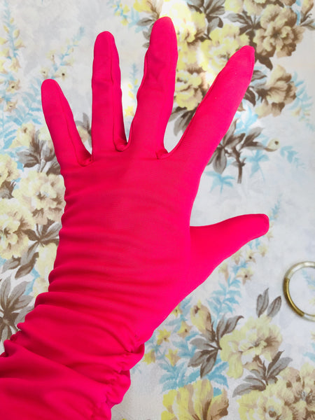 1950s Vintage Hot Pink Ruched Cocktail Gloves • 6.5
