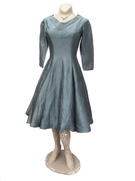 vintage pewter grey silk party dress to fit 36 inch bust, 26 inch waist