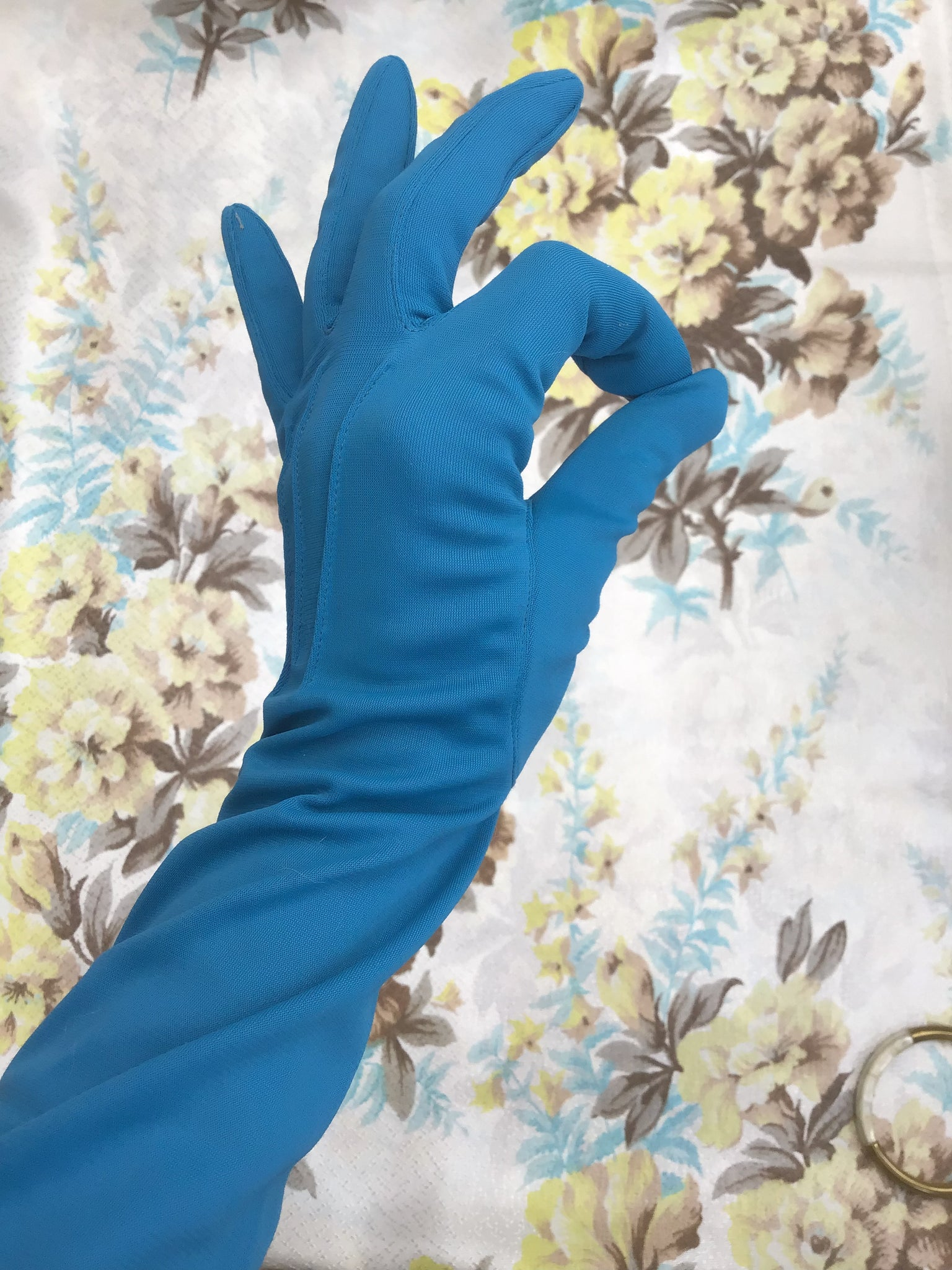 Buy Vintage peacock blue elbow length evening gloves for sale