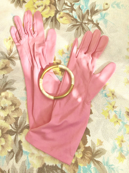 1950s Vintage Bubble Gum Pink Cocktail Gloves • 7.5