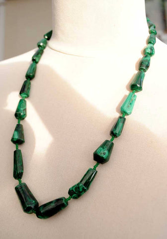 Modern Green Malachite Beaded Necklace