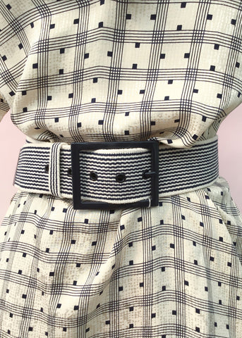 Blue striped canvas belt with enamel buckle