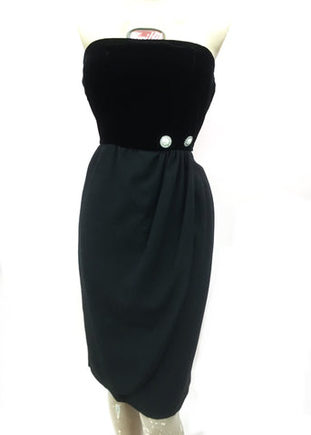 Vintage 80s Valentino Black Velvet Strapless Cocktail Dress • Designer