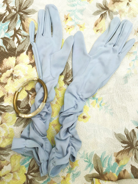1950s Vintage Baby Blue Ruched Cocktail Gloves • 7.5