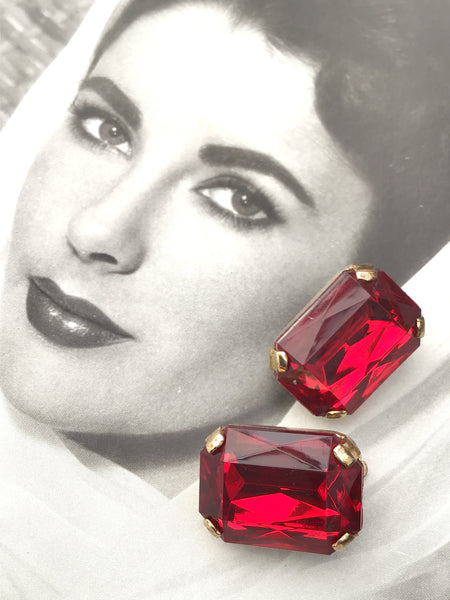 1960s x Vintage Ruby Red Glass Large Square Cut Clip On Earrings • Glam