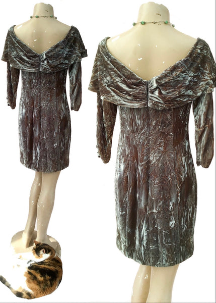 1990s Two Tone Crushed Greeny Grey Velvet Cocktail Party Dress