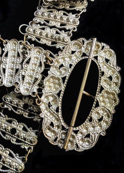 Antique Victorian Silver Metal Repousse Chatelaine Belt