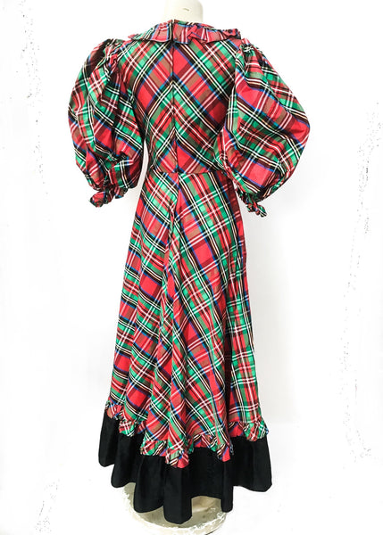 1960s Vintage Tartan Plaid Evening Dress • by Laura Phillips