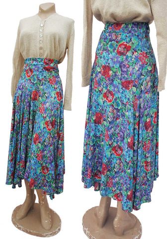 buy blue and red floral print asymetrical midi skirt, hand made in the 1970s to a 1940s design