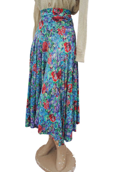 1960s Vintage Blue Floral Asymetrical HIgh Waist Skirt • Handmade