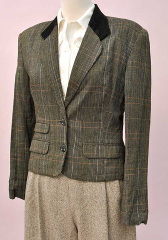 Women's Vintage French Connection Hacking Jacket • Size M • Suede Collar