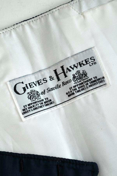 Vintage Gieves & Hawkes Navy Blue Silk Cummerbund with Belt Buckles