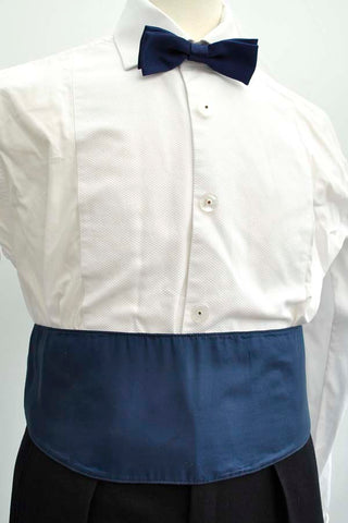 Vintage blue silk gieves and hawked cummerbund belt with buckles