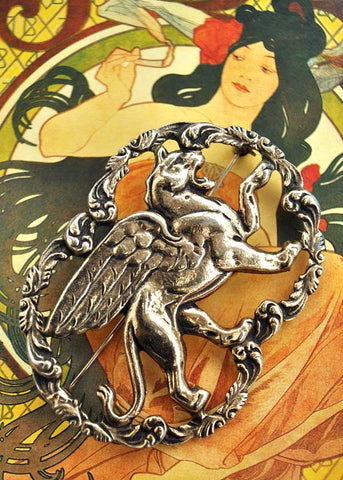 Vintage 1970s Jewelcraft Griffin Brooch Pin • Mythological Beast
