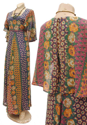 indian cotton, vintage 70s gauze caped maxi dress, summer festival maxidress