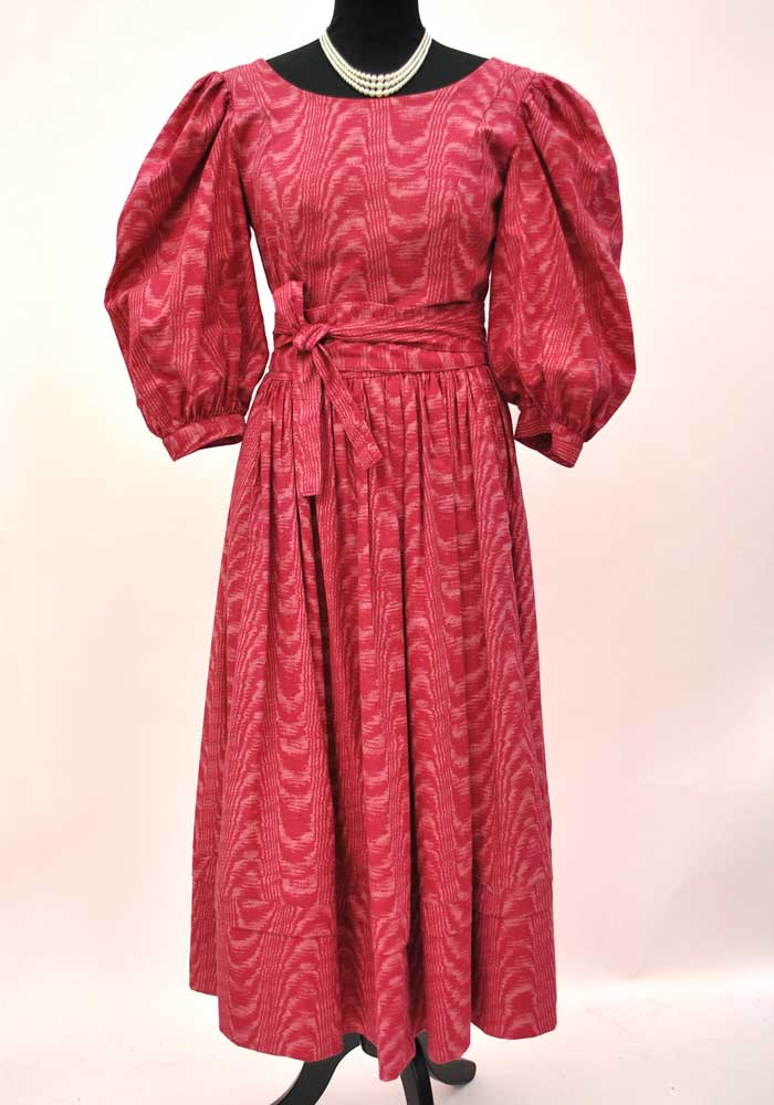 1980s Vintage Laura Ashley Raspberry Printed Balloon Sleeve Dress